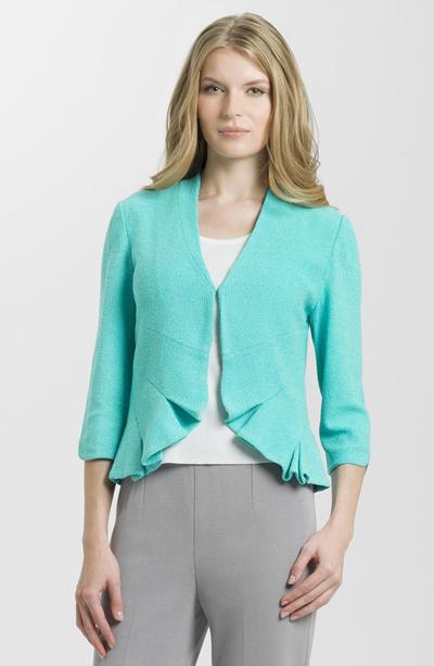 Pleat Detail Three Quarter Sleeve Knit Jacket