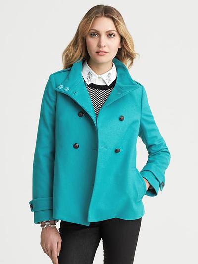 Turquoise Short Swing Coat