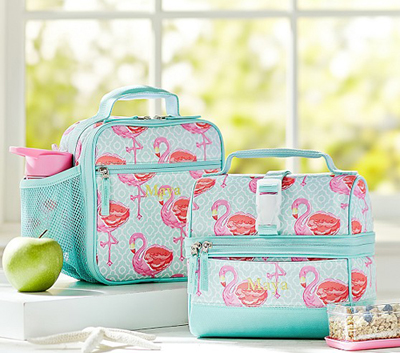 Mackenzie Aqua Flamingo Lunch Bags