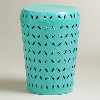 Baltic Blue Lili Punched Drum Stool