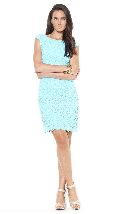 Lauren Ralph Lauren Cap-Sleeve Crocheted Lace Dress