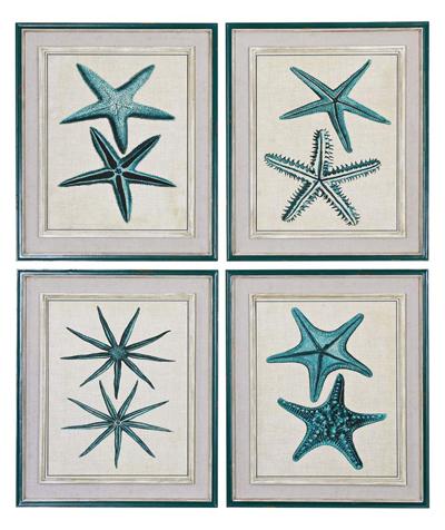 "Set of 4 Coastal Starfish 26"" High Wall Art"