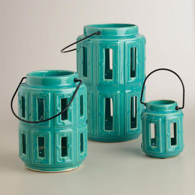 Blue Lamai Ceramic Lanterns