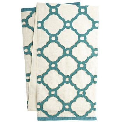 Flocked Geometric Table Runner