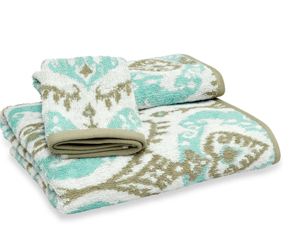 Mia Ikat Blue Bath Towel