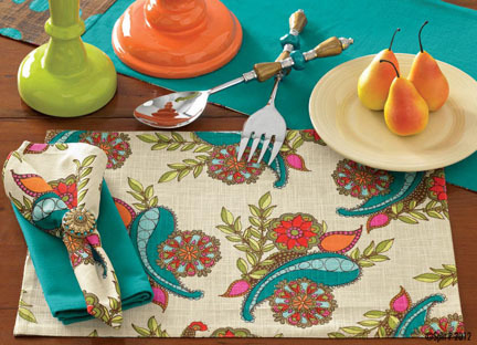 Peacock Paisley Cotton Placemat