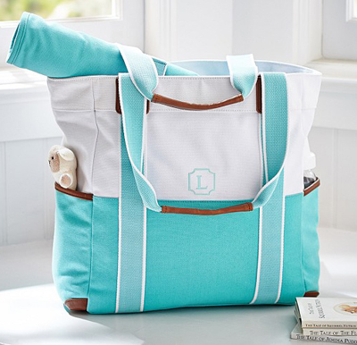 Aqua Color Block Harper Tote