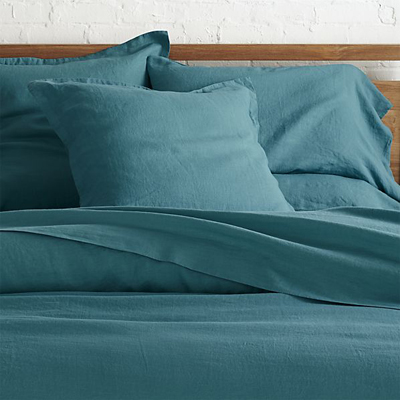 Lino Teal Linen Bed Linens