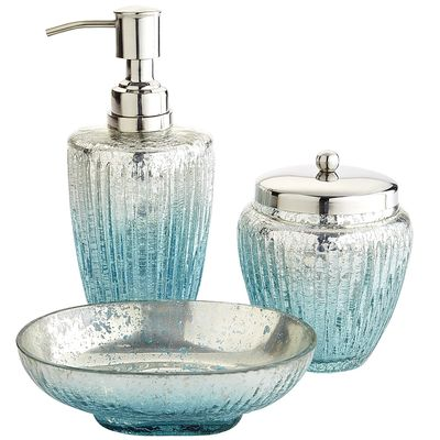 Juliette glass bath accessories everything turquoise for Aqua colored bathroom accessories