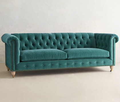 Velvet Lyre Chesterfield Sofa
