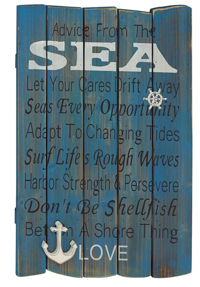 Blue Distressed Wood Wall Plaque