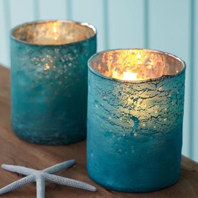 Glass Turquoise Candleholders