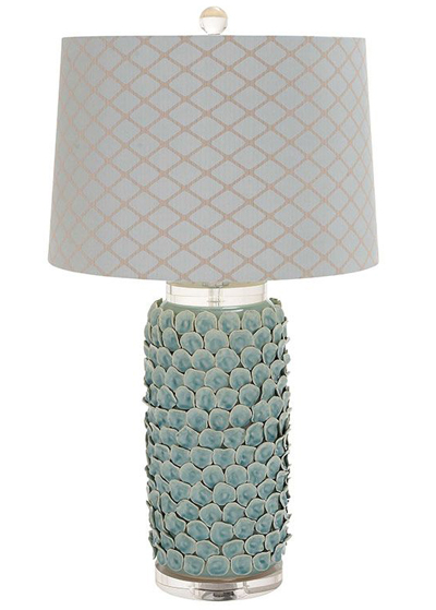 Turquoise Ceramic & Acrylic Table Lamp