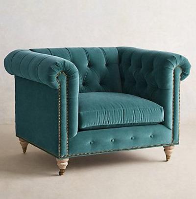 Velvet Lyre Chesterfield Armchair