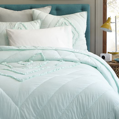 Aqua Ruffled and Ruched Quilt and Shams