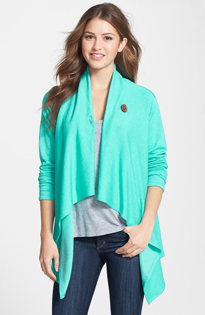 Asymmetrical Fleece Wrap Cardigan