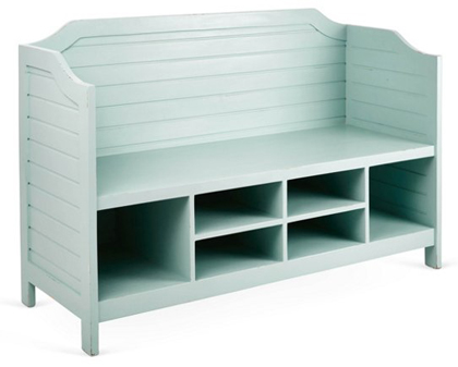 Beach House Seafoam Storage Bench