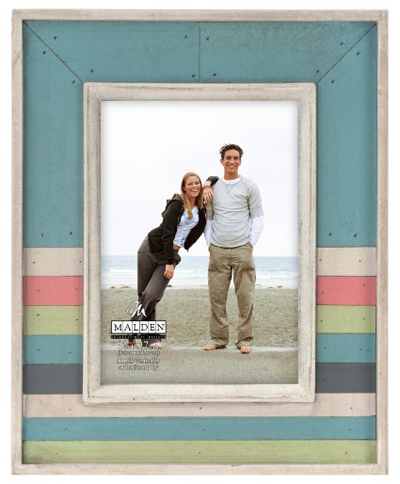 Sun Washed Woods Multi-Stripe Distressed Picture Frame