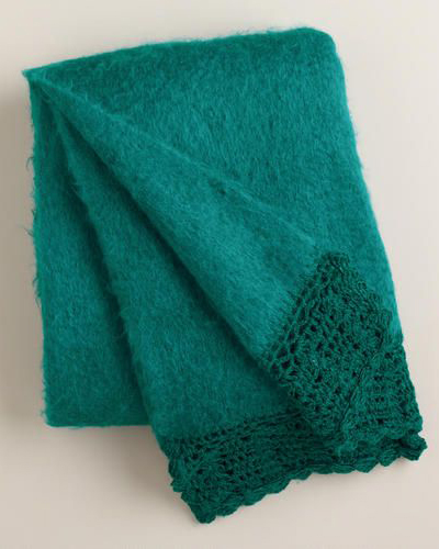 Teal Crochet Faux Mohair Throw