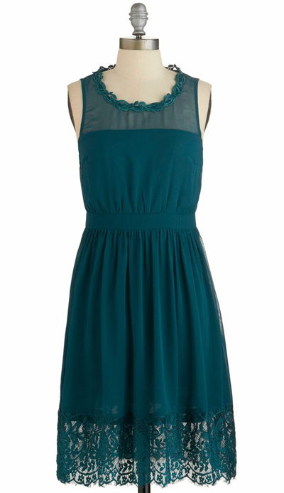 Teal Me a Story Dress in Green