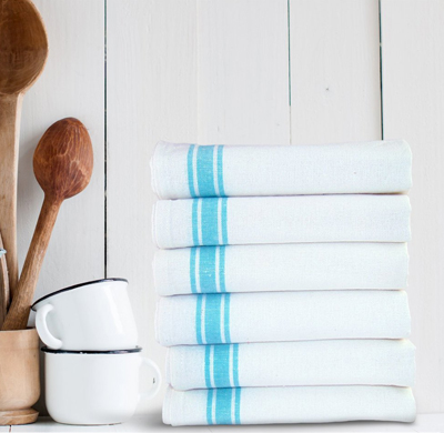 Turquoise Stripe Dish Towels