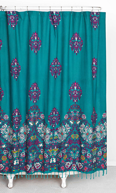 Blomma Teal Shower Curtain