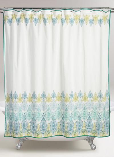 bluegreen print shower curtain