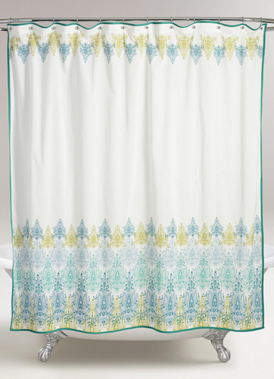 Blue/Green Print Shower Curtain