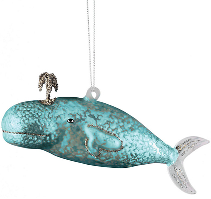 Glass Victorian Whale Ornament