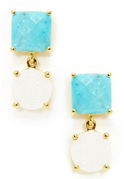 Turquoise & Druzy Drop Earrings