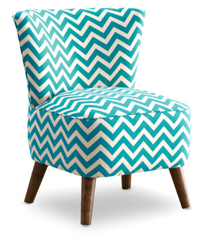 Zig Zag Teal and White