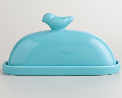 Aqua Bird Ceramic Butter Dish