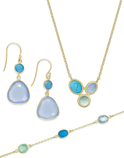 Blue Chalcedony and Faux Turquoise Jewelry Set