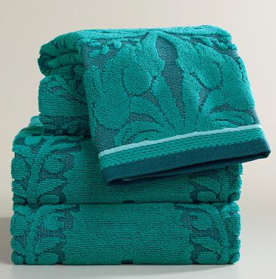 Teal Esme Sculpted Bath Towel Collection