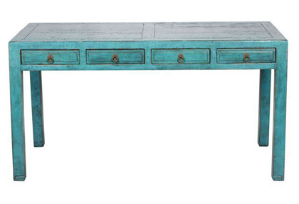 Turquoise Demeter 4-Drawer Desk