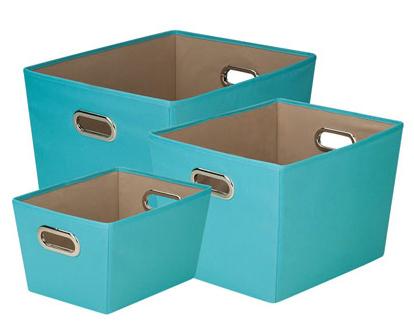 Turquoise Storage Bin - Set of 3