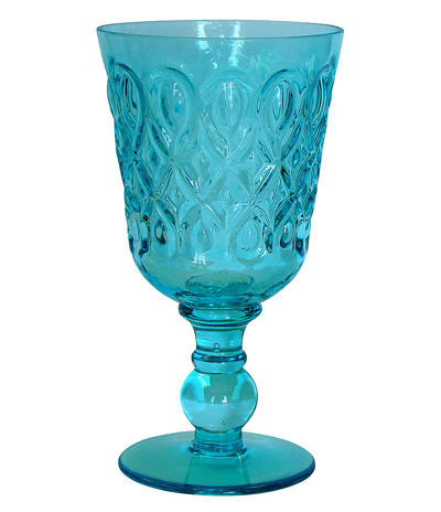 Turquoise Teardrop Pressed Glass Goblet