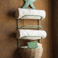Antique Blue Starfish Towel Rack with Basket