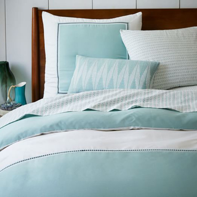 Organic Embroidered Colorblock Duvet Cover