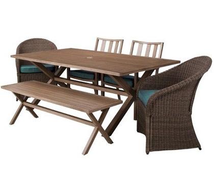 Holden 6-Piece Metal/Wicker Rectangular Patio Dining Furniture Set