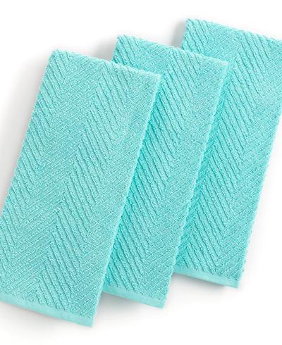 Textured Terry Aqua Kitchen Towels
