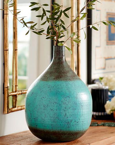 Aqua Hammered Vase