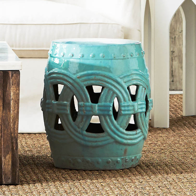Cerulean Indian Rings Stool Everything Turquoise