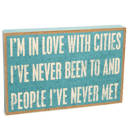 Cities I've Never Been To Burlap Box Sign