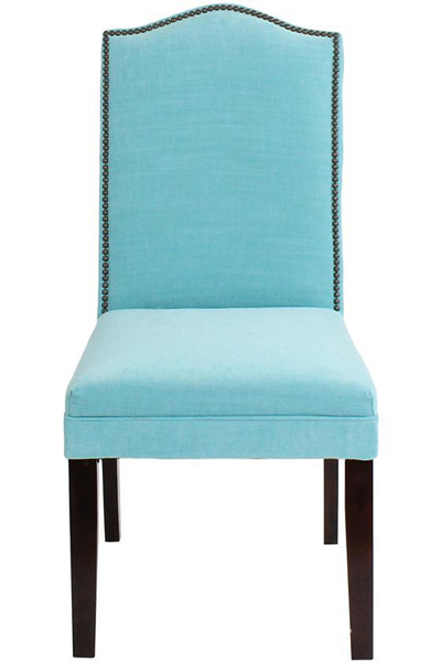 Custom Camel-Back Parsons Chair with Nailhead Trim