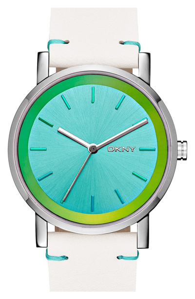 DKNY Soho Iridescent Accent Leather Strap Watch