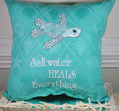 Embroidered Sea Turtle Pillow