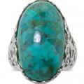 Genuine Turquoise Sterling Silver Filigree Ring