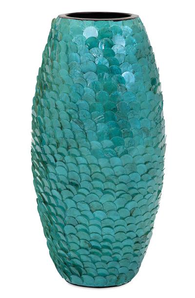 Mermaid Tail Blue Capiz Vase