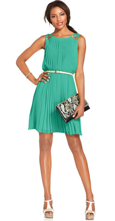 Sleeveless Belted Pleated Dress